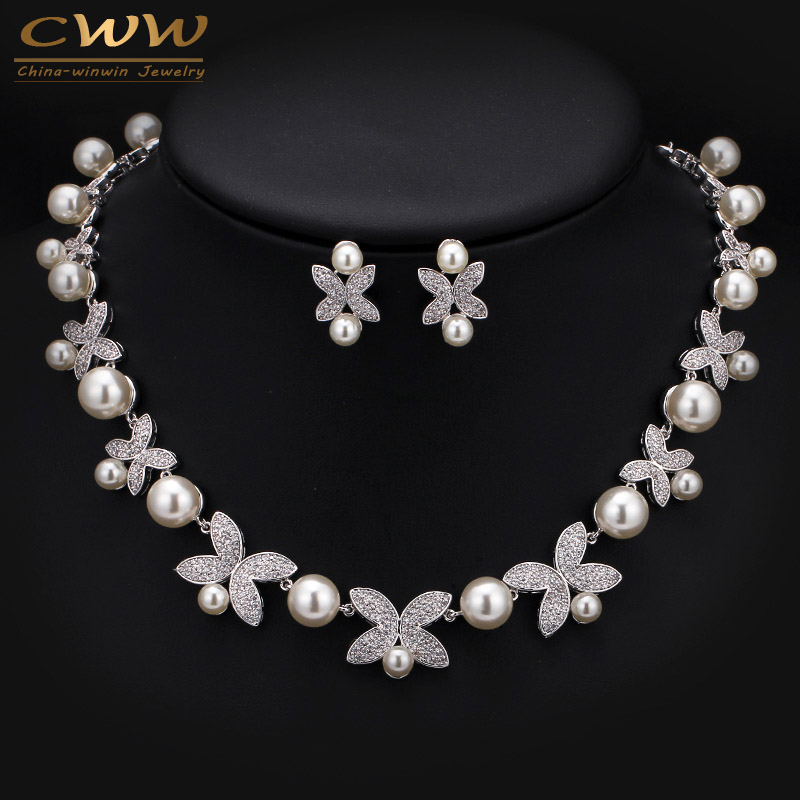 High Quality White Gold Color Micro Inlay Cubic Zirconia Big Pearl Bridal Choker Necklace Sets For