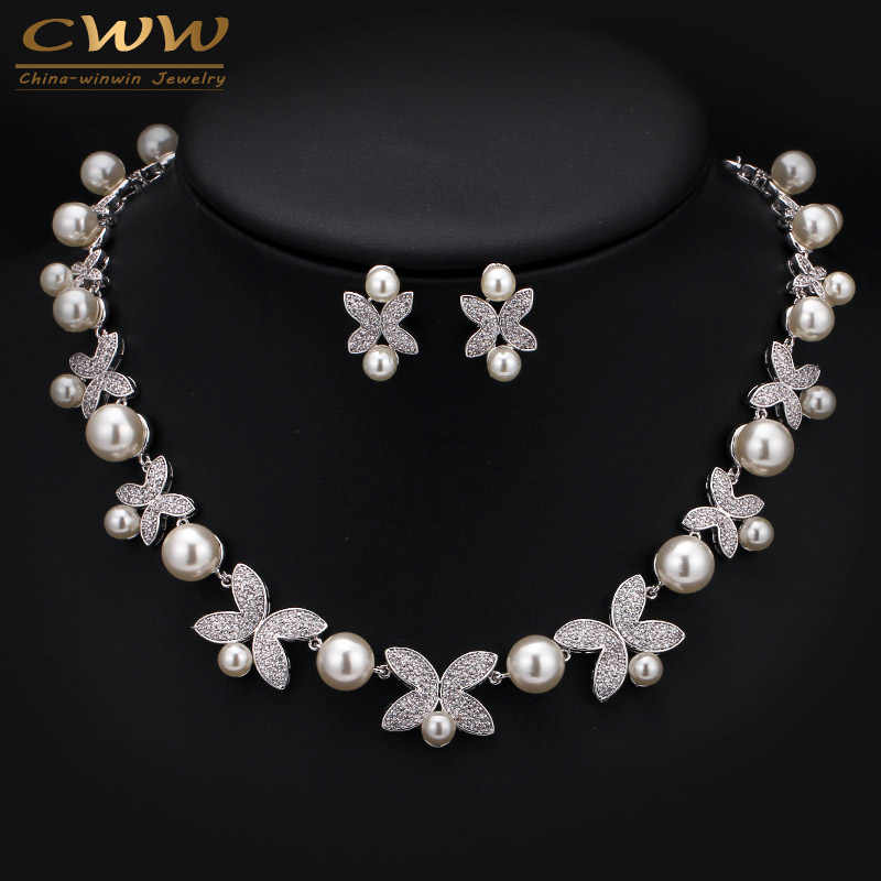 High Quality White Gold Color Micro Inlay Cubic Zirconia Big Pearl Bridal Choker Necklace Sets For Wedding Jewelry T247
