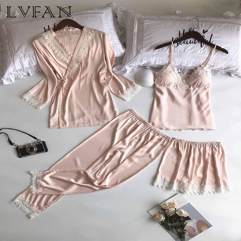 Women s Spring Autumn Sexy Embroidered Lace Pajamas Four Piece Robe Ice Silk Thin Section Strap