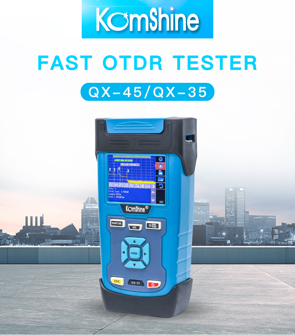 Mini Digital Optical Fiber OTDR Tester Komshine QX35 Singlemode OTDR 1550nm 28dB with Portuguese LanguageMini Digital Optical Fiber OTDR Tester Komshine QX35 Singlemode OTDR 1550nm 28dB with Portuguese Language