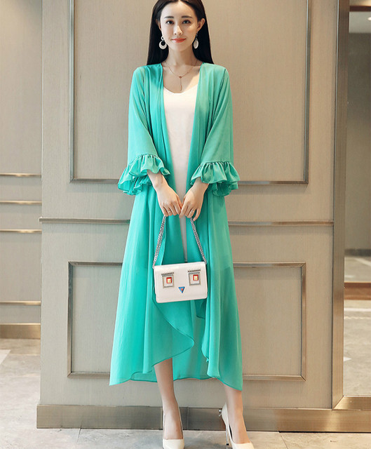5bd600c451c54 2018 Summer Ruffle Sleeve Long Maxi Chiffon Kimonos Women Plus Size Long  Chiffon Shirts Maxi Beach Kimonos Maxi Long Chiffon Top