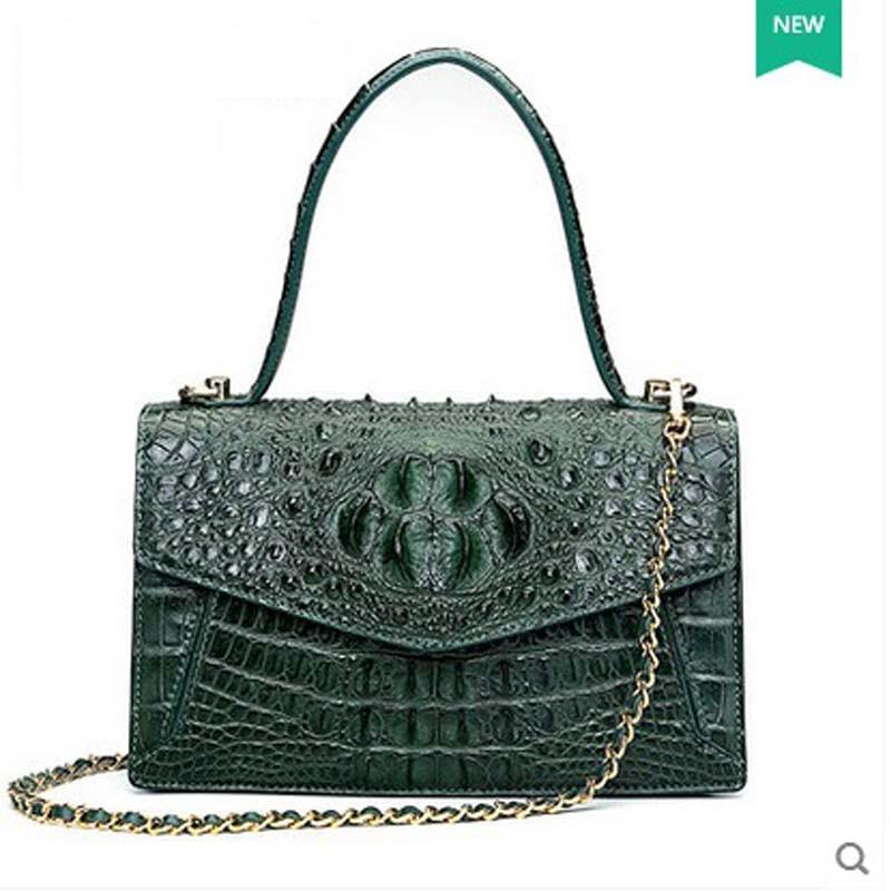 2018 hlt new crocodile leather handbag female dermal fashion fashion bag-bag shoulder bag for European and American parties 2018 hlt new crocodile leather handbag female dermal fashion fashion bag bag shoulder bag for european and american parties