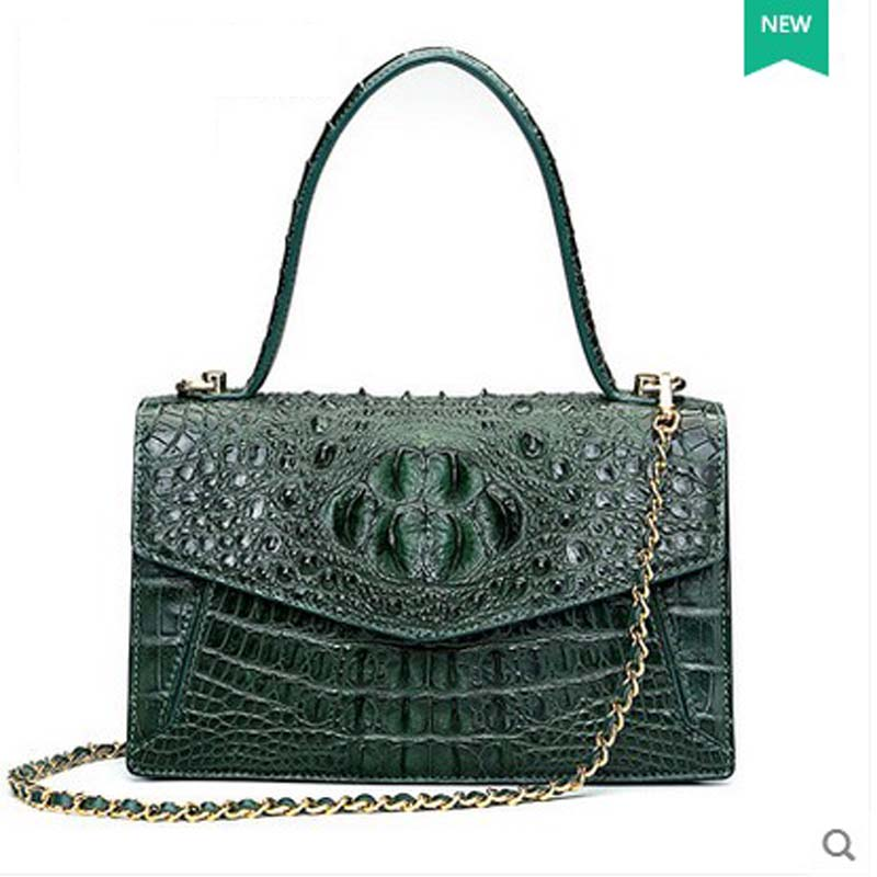 2018 hlt  new crocodile leather handbag female dermal fashion fashion bag-bag shoulder bag for European and American parties