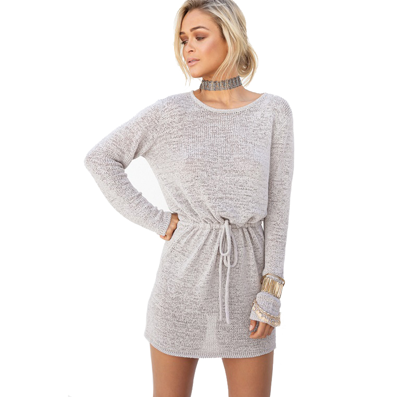 Spring font b 2018 b font Korea Casual New Women Solid Color Back hollow Knitted Dress