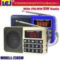 L-238SW мини портативный цифровой full band fm am mw sw радиоприемник поддержка mp3-плеер с tf карта и USB flash диск