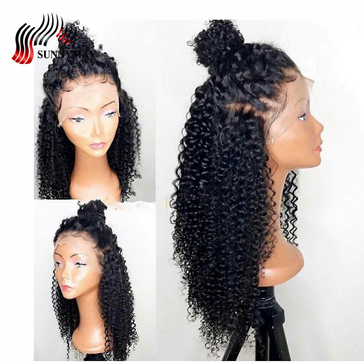 Sunnymay Full Lace Human Hair Wigs Deep Curly Pre Plucked Brazilian Virgin Hair Lace Wigs For