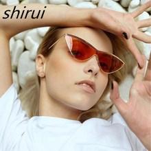 2019 Cat Eye Vintage Brand Designer Gold Frame Sunglasses For Women Metal Siamese flat lens Sun Glasses Female oculos цены