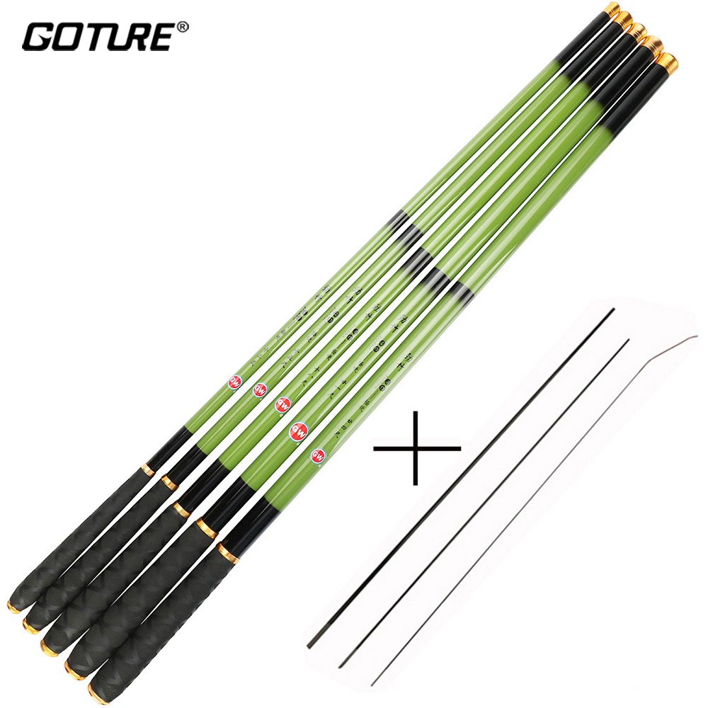 Goture 3,6-7,2m Carbon Fiber Telescopic Fiske Rods Ultra Light Stream Handpole med Spare Front 3 Section Carp vara de pesca
