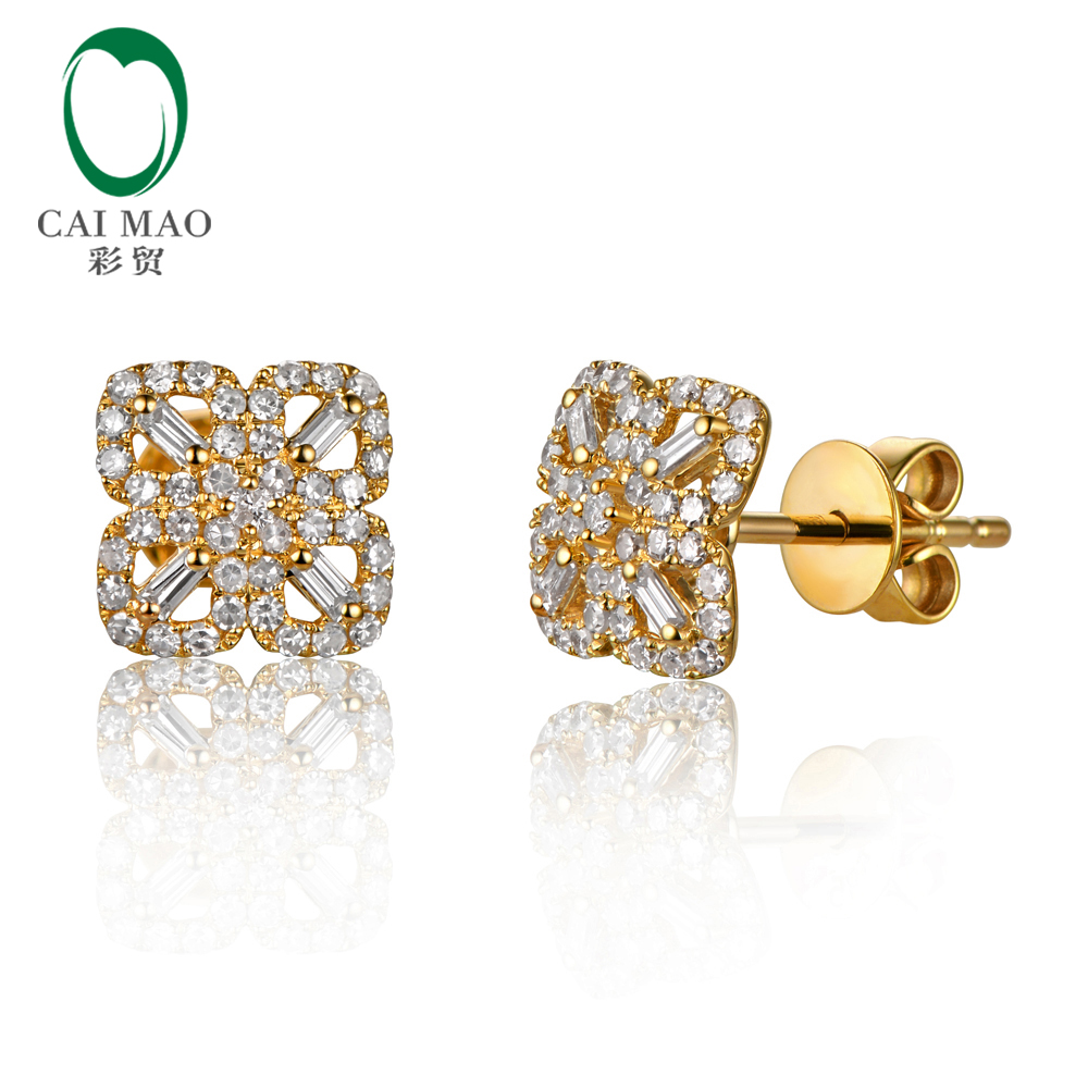 Caimao 0.43ct Natural Round Baguette Diamond Flower Studs 14K Yellow Gold Earrings equte eotw1c7 beautiful white rhinestones flower shaped ear studs yellow pair