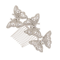 Rhinestone Crystal 3 Butterfly Hairpins Tiara Women Hair Comb Accessories Wedding Bridesmaid Bridal Silver Tone Wholesale