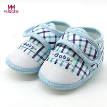 Newborn Baby Girls Shoes Infant Baby Boys Soft Sole Prewalker Warm Casual Flats Shoes Toddler Baby Plaid Hook Loop Shoes(China)