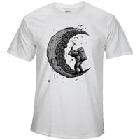 100 Cotton Digging The Moon Print Casual Mens O Neck T Shirts Fashion Men S Tops
