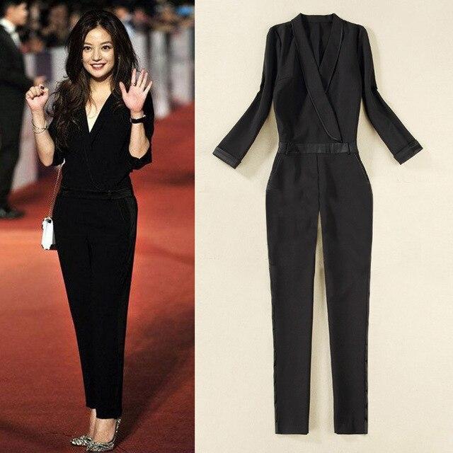 Black Elegant Jumpsuits 2016 New European Brand Rompers Combinaison Plus  Size XXL Sexy V-Neck Enteritos Mujer 52455a936d44