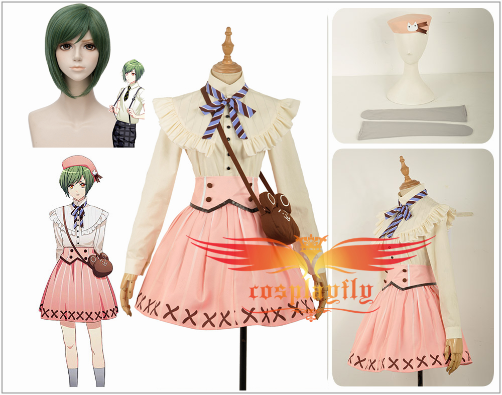 A3! Act!Addict!Actors! Summer Troupe Rurikawa Yuki Cosplay Costume Fashion Outfit Clothing Adult with Lovely Cat Hat/Bag+Wig