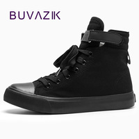 2017 For Men Canvas Shoes Spring And Autumn Male High Top Pure Black Classic Casual Shoes