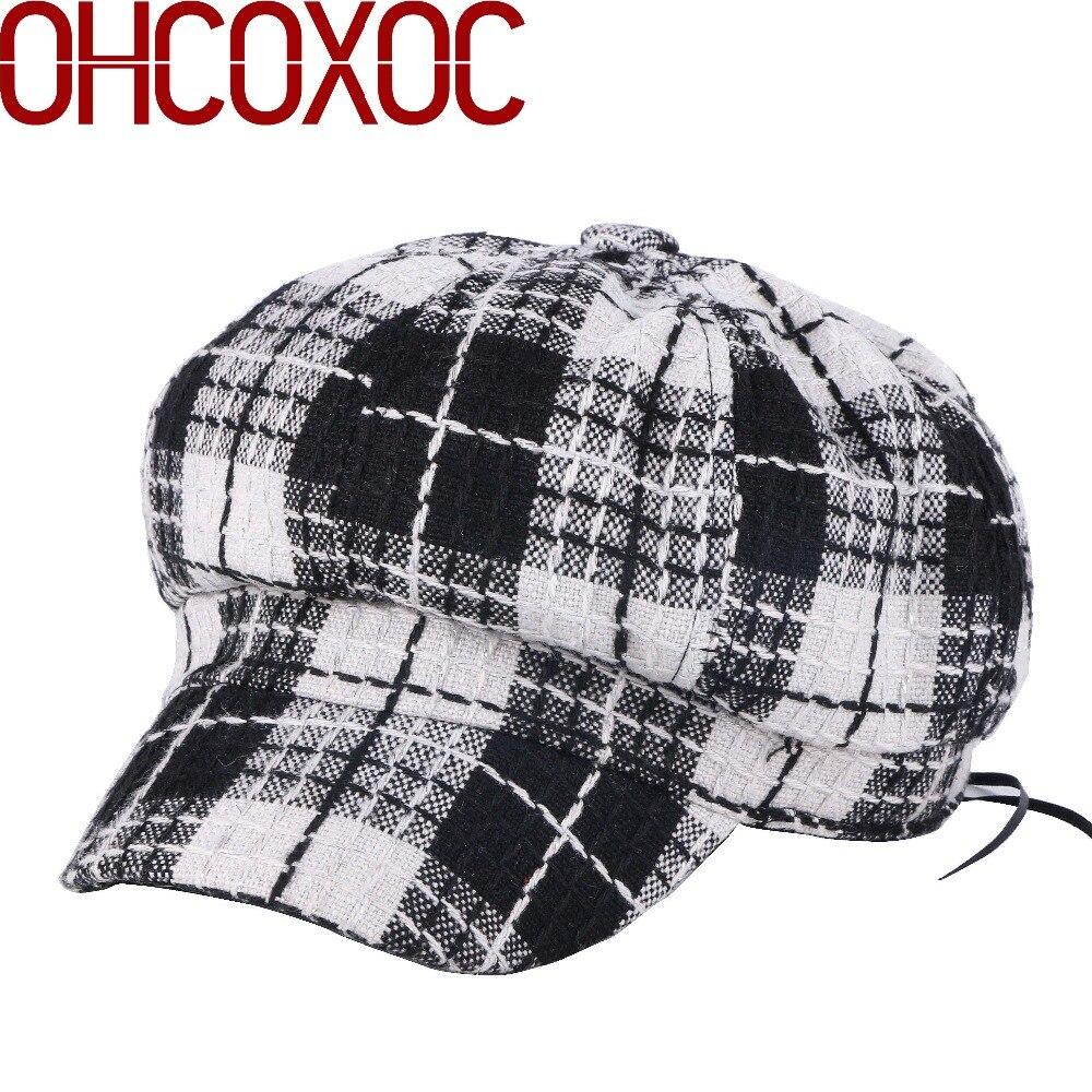 2018 Frauen Winter Achteckige Hüte Caps Plaid Design Vintage Berets 54-57 Cm Größe Dicke Thermische Weiche Baumwolle Mädchen Frau Casual Hut Neue Sorten Werden Nacheinander Vorgestellt