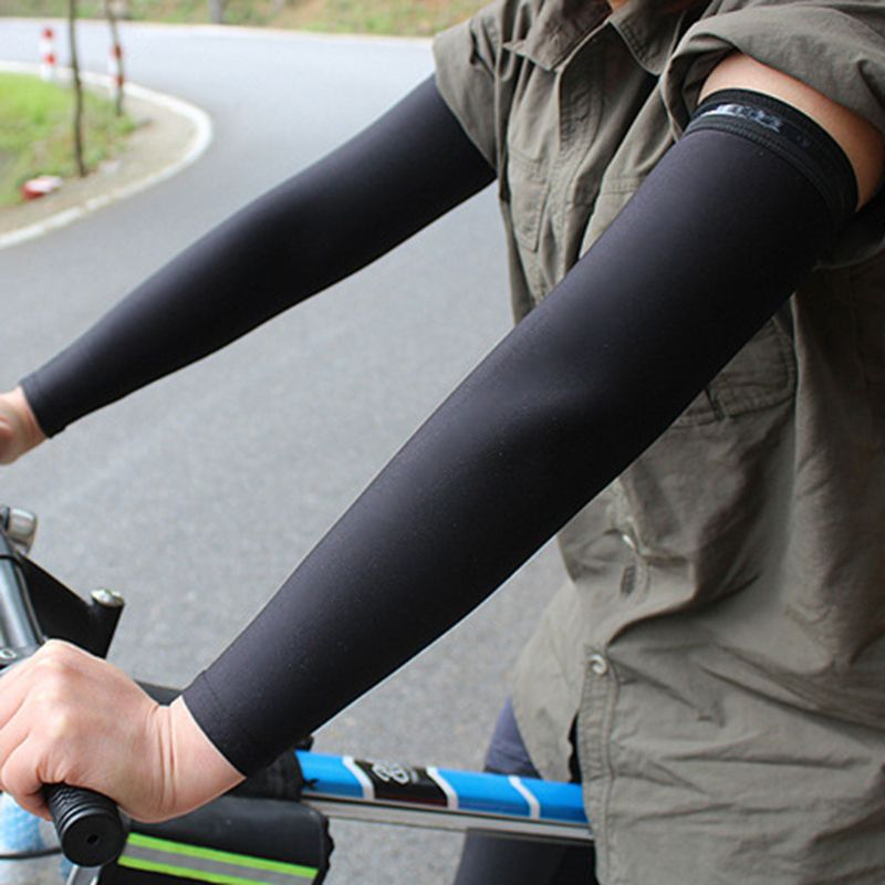 10 Colors Unisex Summer UV Protection Milk Silk Cooling Arm Sleeves Anti-Slip Protective Cycling Running Long Cover Mittens