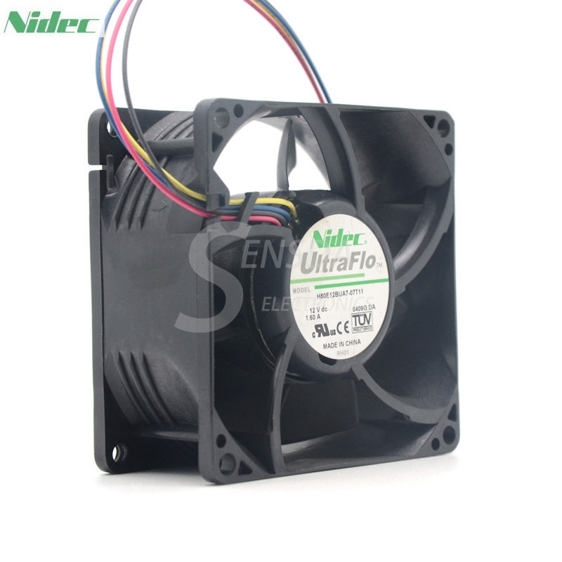 NIDEC  H80E12BUA7-07T11 8038 80mm 12V 1.6A PowerEdge C2100 Cooling Fan K95P3 new original nidec 13 6v 0 16a 8038 8cm 80 80 38mm v80e14ms2a3 57a611 3914d j1 e 239d1412p002 computer server cooling fan