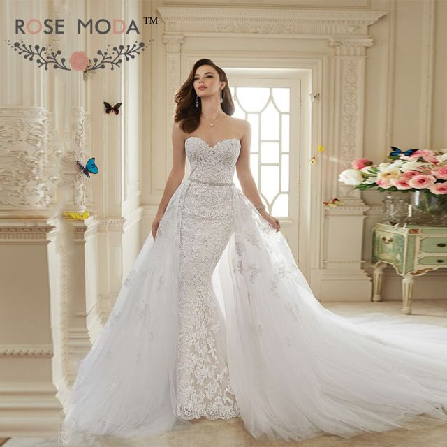 Strapless Sweetheart Lace Sheath Wedding Dress With Detachable Lace