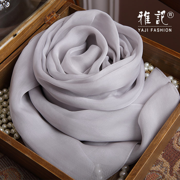 Genuine Silk Women Scarf 2017 Summer Autumn Winter High Quality Shawl Fashion Light Gray Solid Color Scarves