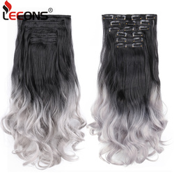 Leeons Long Curly Synthetic Clip For White Women 16 Clips In Hair Extensions Popular Ombre Clip Hairpieces Heat Resistant Fiber
