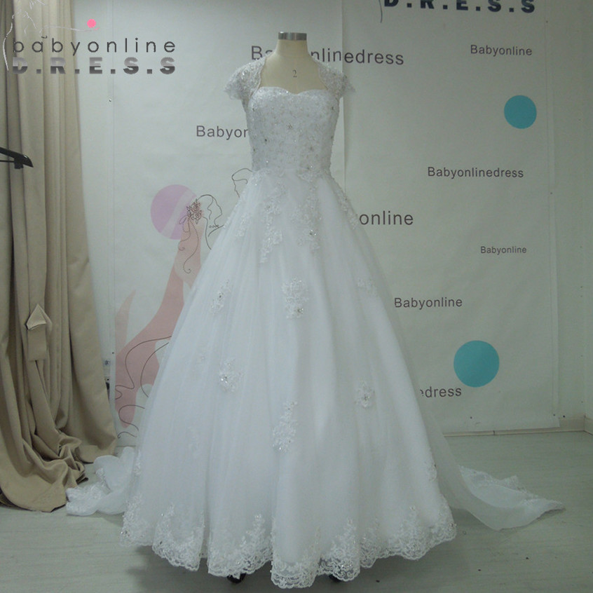 Gorgeous Lace Appliques Embroidery Princess Wedding Dresses 2017 Cap ...
