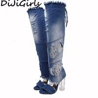 Yuanmeifei Women Over The Knee Thigh High Denim Boots Open Toe Transparent Block Thick High Heel