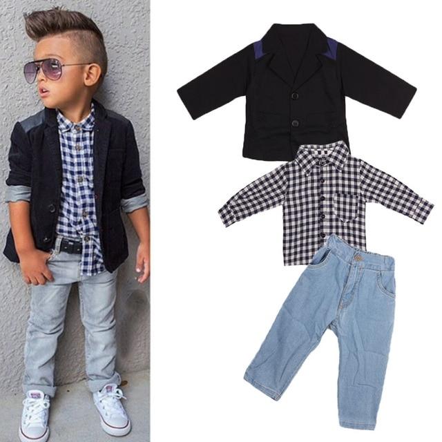Baby Boy 3 Pcs Toddler Outfits Gentleman Suit+Grid T-Shirt+Denim Jeans Pants