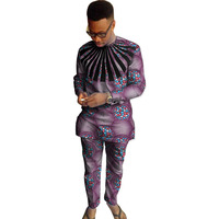 African Print Men's Set Dashiki Fashion Tops With Pants 2 Pieces Set O neck Shirt+Trouser Sets Casual Custom Made Men's Outfit