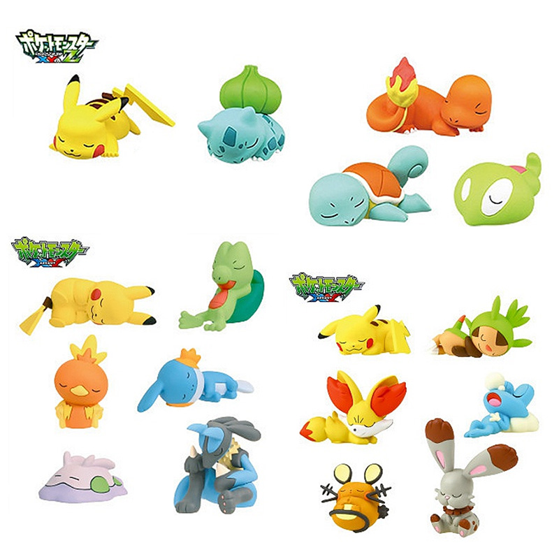 5/6 pieces/set sleeping figures pika Squirtle Bulbasaur anime action toy figures model toy Car decoration toy pokemones