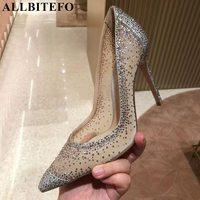 ALLBITEFO Gauze+Rhinestone sexy high heels women shoes wedding women high heel shoes party ladies shoes high quality women heels