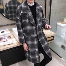 2016 продажа осень и зима новый Корейских мужчин плед шерсть пальто лацкане длинный участок свободные модные куртки куртки молодежи прилив