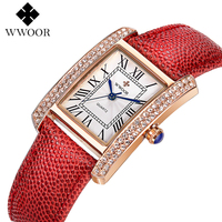 WWOOR Women Watch Luxury Brand 2017 Fashion Dress Quartz Watch Ladies Casual Leather Strap Crystal Sports