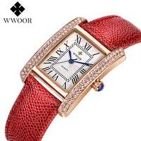 WWOOR Women Watch Luxury Brand 2017 Fashion Dress Quartz Watch Ladies Casual Leather Strap Crystal Sports