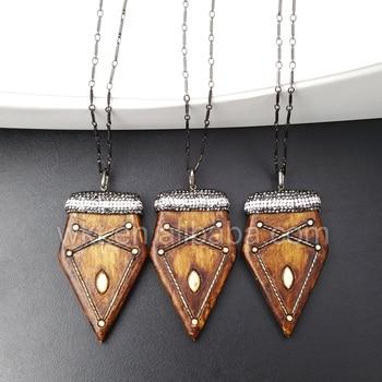 WT-NV110 Amazing Natural resin rhinestone arrowhead necklace, black gun electroplated brass chain boho arrowhead necklace