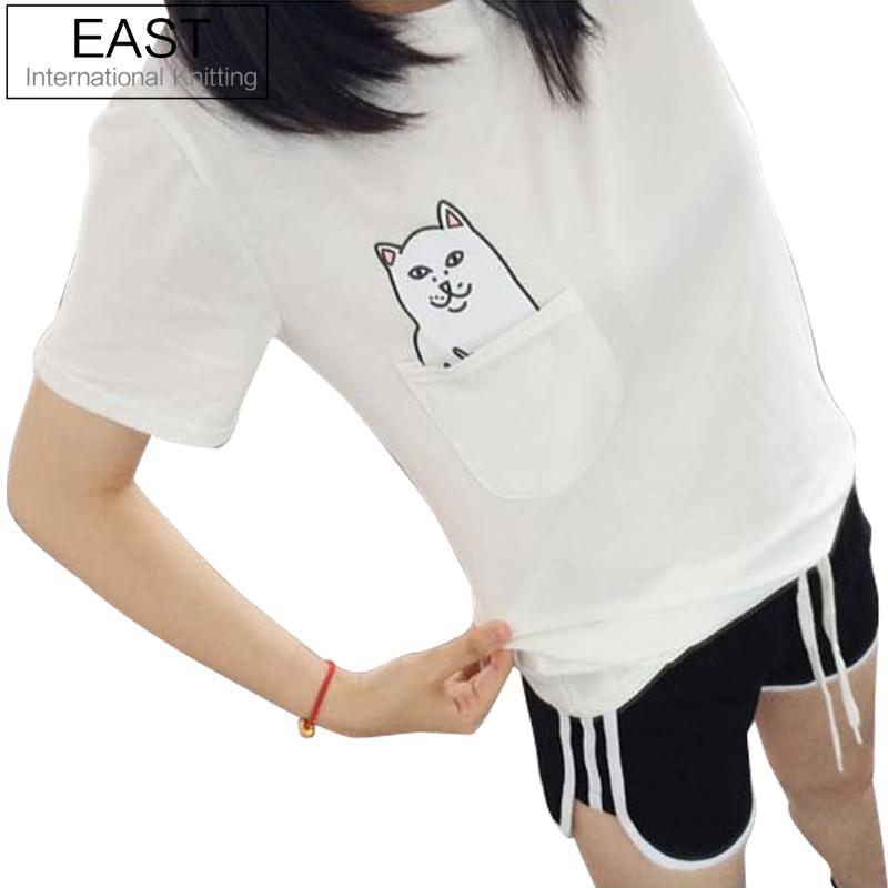 EAST KNITTING Women T Shirt 2015 Summer Style T-shirt Print Black Pocket Cat Harajuku Short Sleeve Couple Tee 4XL Plus Size