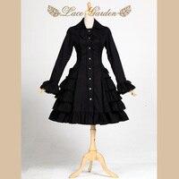 Czarny audrey hepburn trench coat vintage style długi flare rękawem lolita płaszcz przez lace ogród