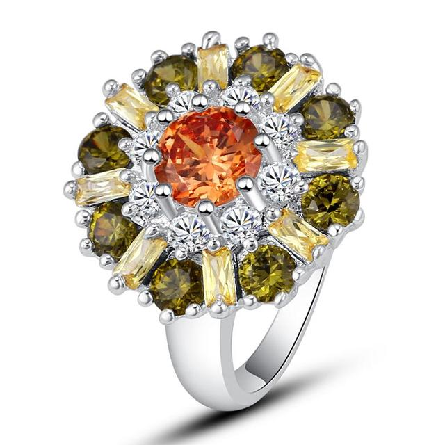 Flower Style Yellow Cubic Zirconia Ring