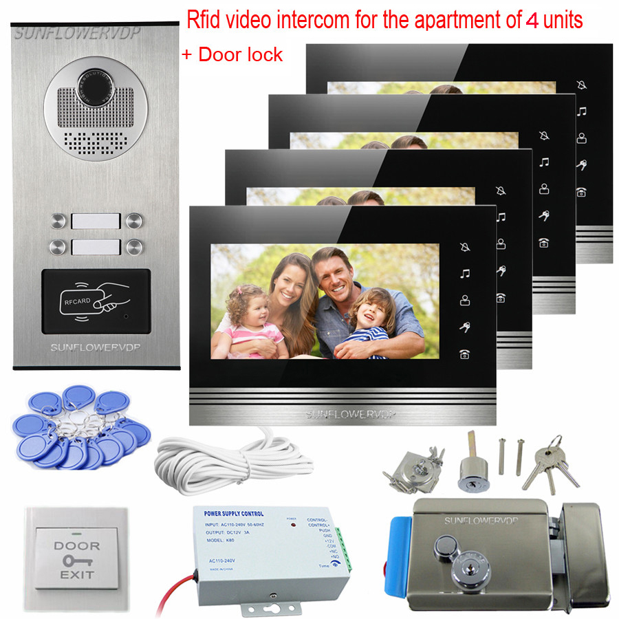 Rfid 4 Call Buttons Wired Home Video Intercom CCD Doorbell With Camera 7 Color Monitor Video Doorphone Intercom Door With Lock