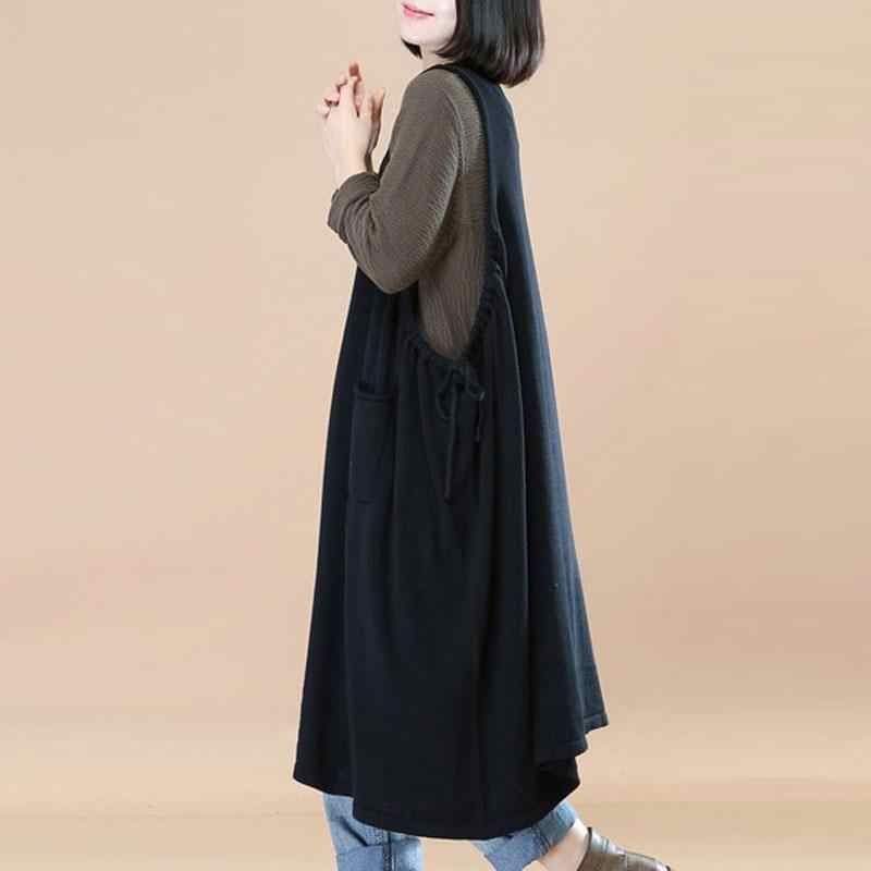 9a30faa1e7 Autumn 2018 Vintage O Neck Sleeveless Retro Casual Loose Spaghetti Strap Women  Baggy Dress Oversized L