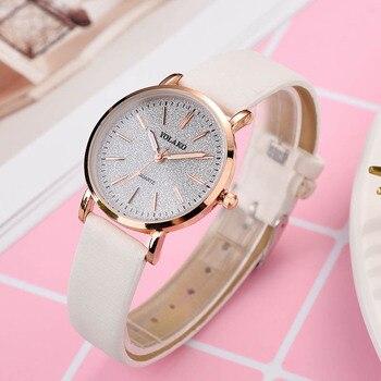 Women Quartz Wrist Watch Shining Starry Sky Dial PU Leather Strap Casual Watches LXH Переносные часы