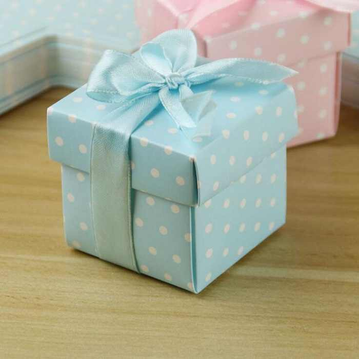 candy box bag chocolate paper gift package for Birthday Wedding Party favor Decoration supplies DIY baby shower pink blue dot Wh