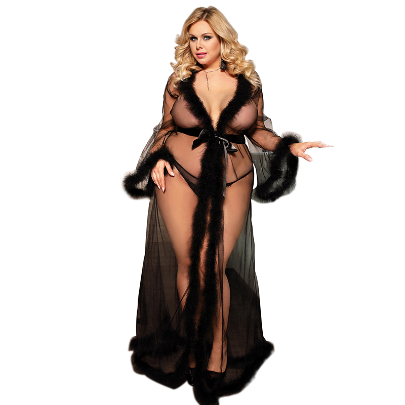 <font><b>Sexy</b></font> Lingerie Sheer Plus Size <font><b>Sexy</b></font> <font><b>Dress</b></font> <font><b>Babydolls</b></font> <font><b>Sexy</b></font> For Women Transparent Dessous <font><b>Sexy</b></font> Hot Erotic Underwear With Fur D80759 image