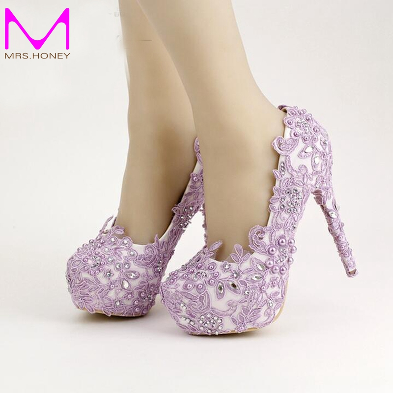 Lavender Bride Shoes High Heel Platform Shoes with Lace Flower Rhinestone Wedding Shoes Spring Women Pumps for Prom Event lavender bride shoes high heel platform shoes with lace flower rhinestone wedding shoes spring women pumps for prom event