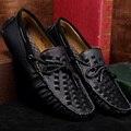Europa estación de verano tejida a mano de cuero ocasionales respirables Guisantes zapatos de conducción zapatos de vela perezosos negro pedal 3350