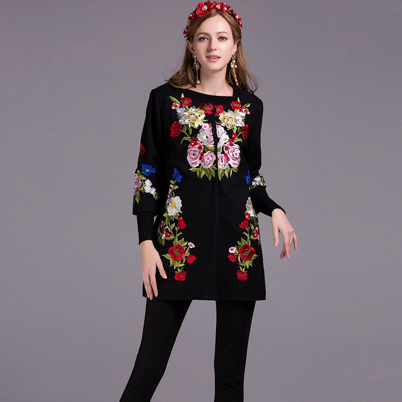 Fashion Coats 2018 New Autumn Winter 3/4 Sleeve Covered Button Flower Embroidery Women High Quality Casual Black Coat