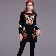 Fashion Coat 2016 New Autumn Winter 3/4 Sleeve Covered Button Flower Embroidery Women High Quality Casual Black Coat