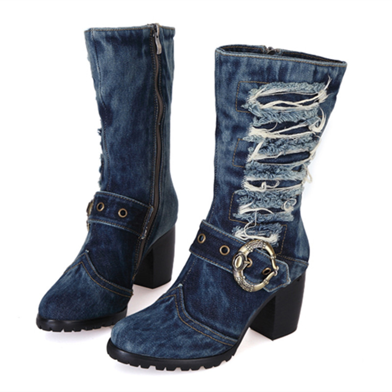 New Arrival High Heel Mid-calf Blue Jeans Boots Cool Appliques Denim Boots For Women Short Cowboy Boots Buckle Shoes Woman chicd hot sale skinny jeans woman autumn new pencil jeans women fashion slim blue jeans mid waist denim pants plus size xp135