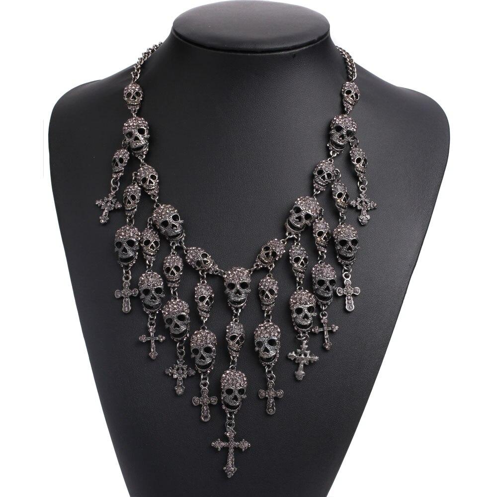 Prix pour Crâne Têtes collier chaîne en métal cristal squelette collier de mode colliers et pendentifs crâne Skullcandy maxi déclaration Collier