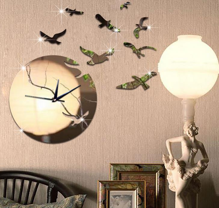 3d Seagull Flying In Sunset Art Mirror Clock Large